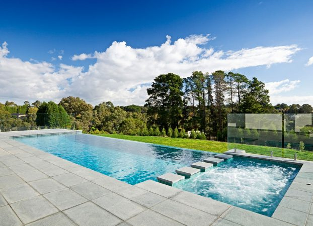 Natural Pools Infinity Concrete Pool with Spa
