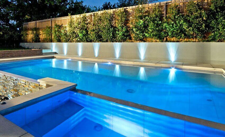 Pool lighting.Lights around the pool